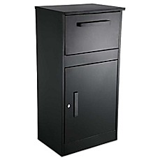 image of QualArc® Winfield Series Parcel Defender Locking Freestanding Mailbox in Black
