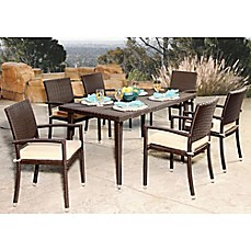 image of Abbyson Living® Harlan 7-Piece Outdoor Wicker Dining Set in Espresso