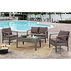 image of Abbyson Living® Venetian 4-Piece Outdoor Wicker Conversation Set in Grey