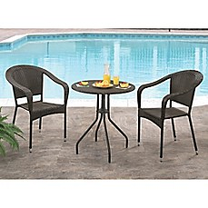 image of Abbyson Living® Odette 3-Piece Outdoor Bistro Set in Espresso