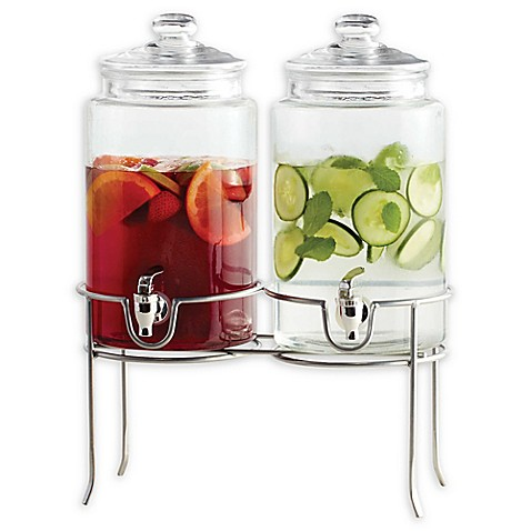 Dailyware 174 Twin Beverage Dispenser With Metal Rack Bed