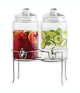 Dispensador de bebidas doble de vidrio Dailyware® con base metálica