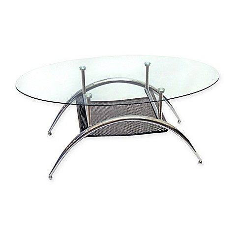 Glass Oval Coffee Table With Metal Shelf Bed Bath Beyond