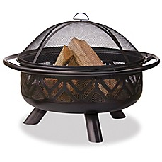 image of UniFlame® 36-Inch Outdoor Steel Firebowl in Oil Rubbed Bronze