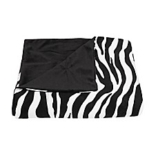 image of Zoe Zebra Printed Microplush Throw from Thro by Marlo Lorenz in Black and White