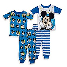 image of Disney® Mickey Mouse 4-Piece Pajama Set in Light Blue