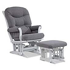 image of Dutailier® Multiposition Reclining Sleigh Glider and Ottoman in Grey/Charcoal