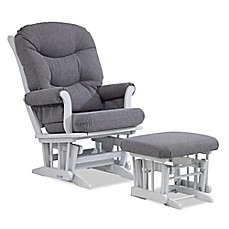 image of Dutailier® Multi-Position Reclining Sleigh Glider and Nursing Ottoman in Grey/Charcoal