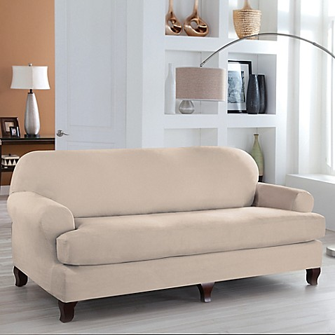 buy perfect fit stretch fit microsuede 2 piece t cushion sofa slipcover in ivory from bed bath. Black Bedroom Furniture Sets. Home Design Ideas