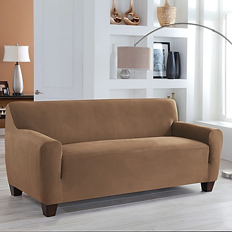 perfect fit stretch fit microsuede sofa slipcover bed bath beyond. Black Bedroom Furniture Sets. Home Design Ideas