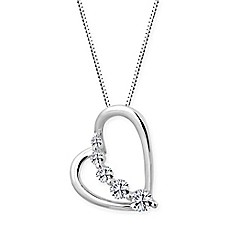 image of Swarovski® Zirconia Platinum-Plated Sterling Silver 18-Inch Chain Heart Pendant Necklace