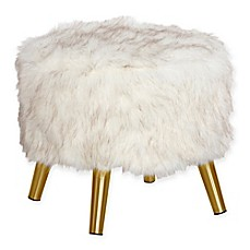 image of Skyline Furniture Brooker Faux Fur Round Ottoman