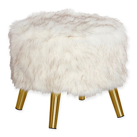 Buy Skyline Furniture Brooker Faux Fur Round Ottoman In