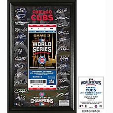 image of MLB Chicago Cubs 2016 World Series Champions Ticket Signature Display
