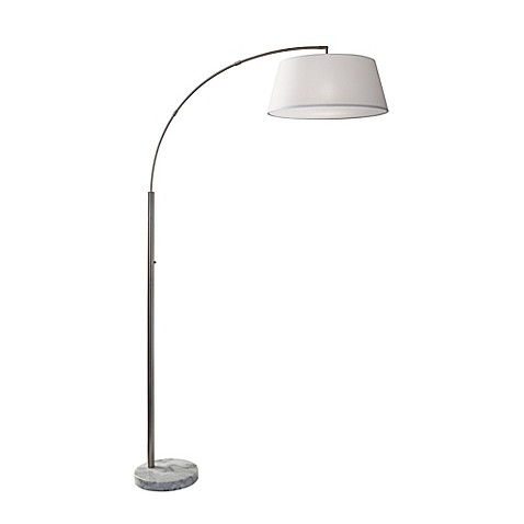adesso thompson arc floor lamp in brushed steel bed bath beyond. Black Bedroom Furniture Sets. Home Design Ideas