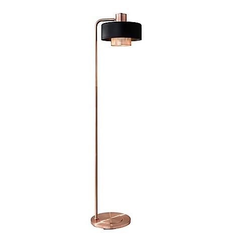 Adessor bradbury floor lamp in brushed copper bed bath for Brushed copper floor lamp