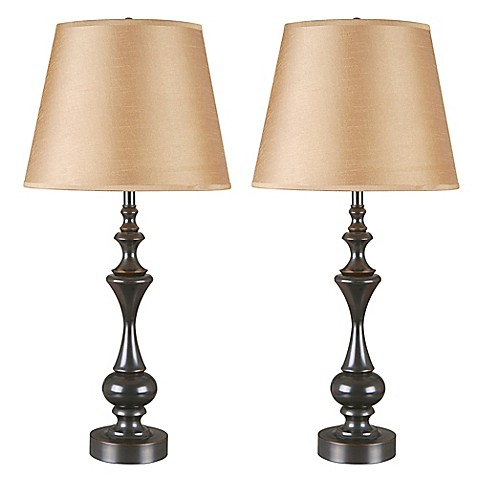 Kenroy home stratton ii table lamp in bronze with brown for Brown table lamp shades