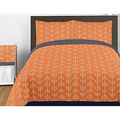 Sweet Jojo Designs Arrow Comforter Set In Orange Navy