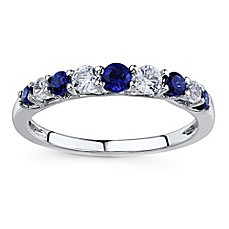 image of 10K White Gold Created Blue and White Sapphire Prong Stackable Ring