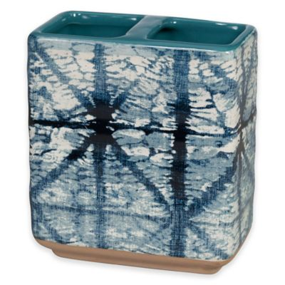 image of Shibori Geometric Toothbrush Holder in Indigo