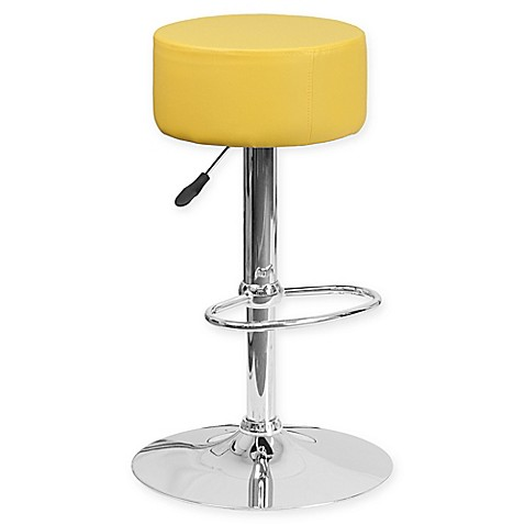 buy flash furniture contemporary vinyl adjustable bar stool in yellow