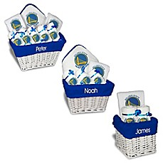 image of Designs by Chad and Jake NBA Personalized Golden State Warriors Gift Basket in White