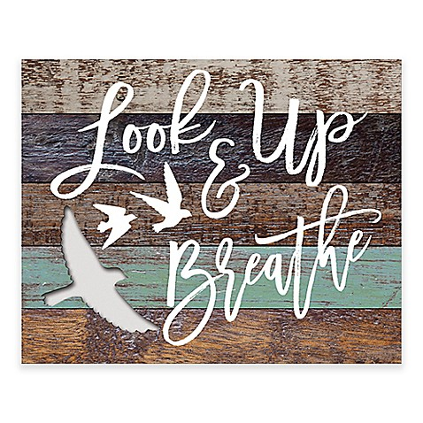 "look up and breathe"" wooden wall art - bed bath & beyond"