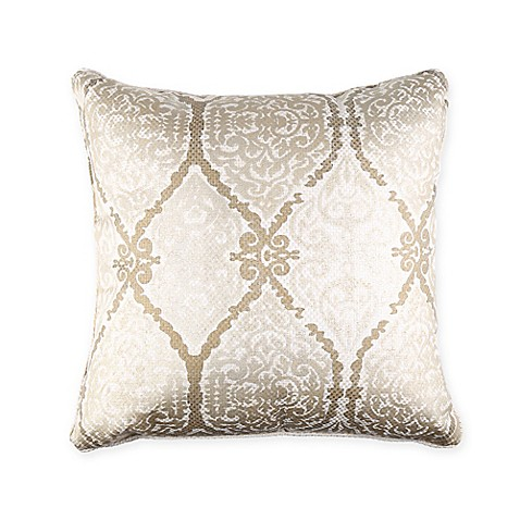 Gold Damask Throw Pillow : Foil Print Damask Square Throw Pillow in Gold - Bed Bath & Beyond
