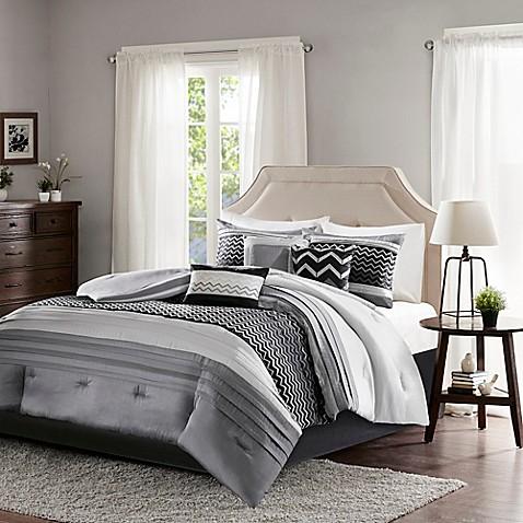 madison park bryan 7 piece comforter set in black bed