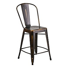 image of Flash Furniture Distressed Metal Indoor/Outdoor Counter Stool with Back