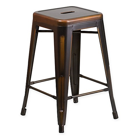 buy flash furniture 24 inch backless distressed counter stool in copper from bed bath beyond. Black Bedroom Furniture Sets. Home Design Ideas