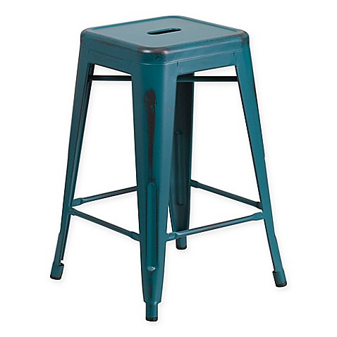 Buy Flash Furniture 24 Inch Backless Distressed Counter