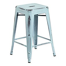 image of Flash Furniture Backless Distressed Stool
