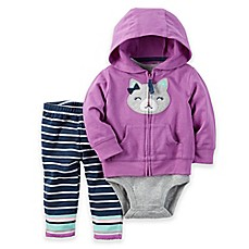 image of carter's® 3-Piece Kitty Hoodie, Bodysuit, and Stripe Pant Set in Purple/Navy