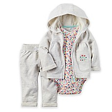 image of carter's® 3-Piece Hoodie, Floral Bodysuit, and Pant Set in Grey/Multicolor