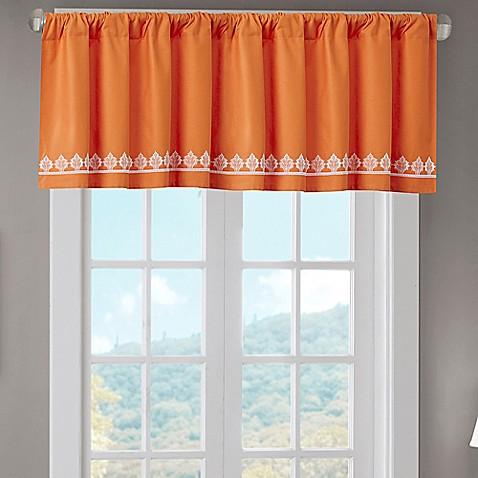 buy madison park nisha cotton embroidered valance in orange from bed bath beyond. Black Bedroom Furniture Sets. Home Design Ideas