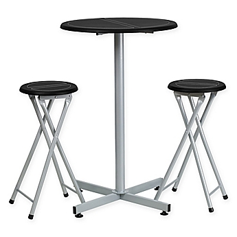 Image Of Flash Furniture Bar Height Table And Stool Set In Black/White