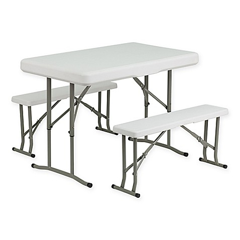 Flash Furniture 3 Piece Folding Table And Bench Set In White
