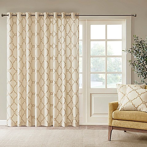 buy madison park saratoga fretwork patio 100 inch x 84 inch window curtain panel in beige gold. Black Bedroom Furniture Sets. Home Design Ideas