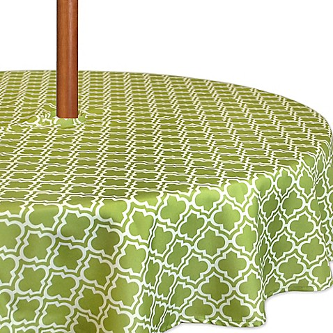 Buy Lattice 60 Inch Round Tablecloth In Green White With