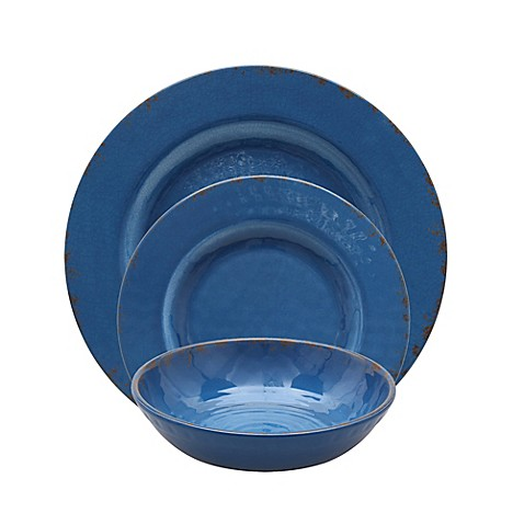 Crackle Melamine Dinnerware Collection in Blue