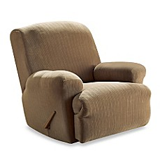Image Of Stretch Pinstripe Taupe Recliner Slipcover By Sure Fit®