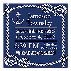 image of Designs Direct First Mate Sailor Birth Announcement 16-Inch x16-Inch Canvas Wall Art in Navy/White