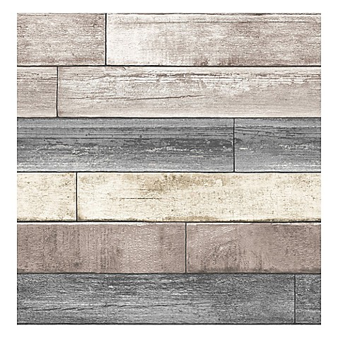 nuwallpaper reclaimed wood plank peel stick wallpaper in natural bed bath beyond. Black Bedroom Furniture Sets. Home Design Ideas