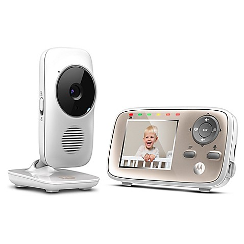 motorola mbp667connect 2 8 video baby monitor with wifi in white bed. Black Bedroom Furniture Sets. Home Design Ideas