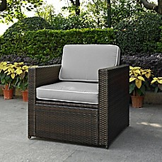 image of Crosley Palm Harbor Wicker Arm Chair in Brown