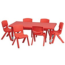 image of Flash Furniture Rectangular Activity Table with 6 Stack Chairs in Red