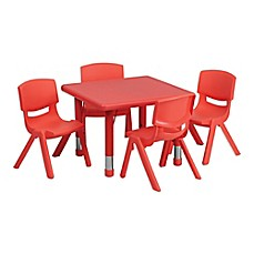 image of Flash Furniture 24-Inch Square Activity Table with 4 Stackable Chairs in Red
