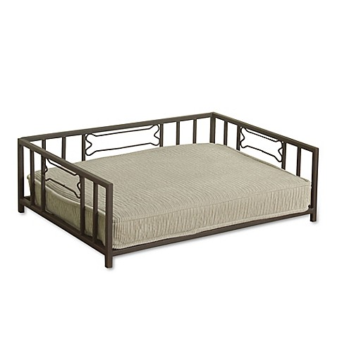 Homepop Decorative Mini Metal Daybed Pet Bed In Warm Taupe
