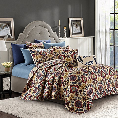 Ridgewood 9-Piece Reversible Queen Quilt Set in Rust/Blue